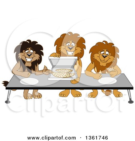 Clipart of Lion School Mascot Characters Offering Pizza, Symbolizing Gratitude - Royalty Free Vector Illustration by Toons4Biz