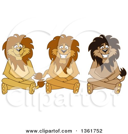Lion School Mascot Characters Sitting on the Floor, Symbolizing Respect Posters, Art Prints