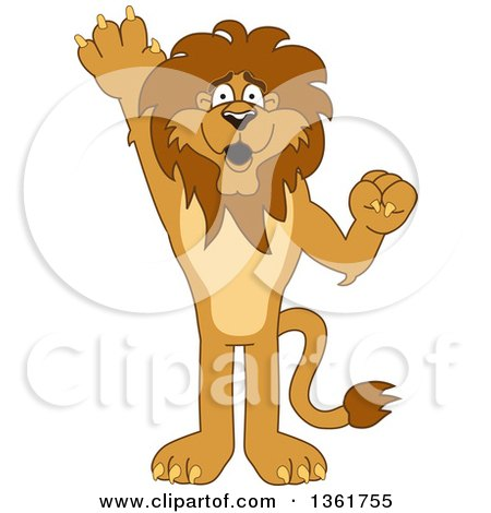 Clipart of a Lion School Mascot Character Raising a Hand to Volunteer or Lead, Symbolizing Responsibility - Royalty Free Vector Illustration by Toons4Biz