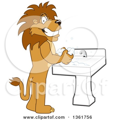 Clipart of a Lion School Mascot Character Washing His Hands, Symbolizing Responsibility - Royalty Free Vector Illustration by Toons4Biz