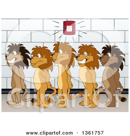 Clipart of Lion School Mascot Characters in Line During a Fire Drill, Symbolizing Safety - Royalty Free Vector Illustration by Toons4Biz