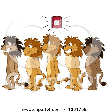 Clipart of Lion School Mascot Characters in Line During a Fire Drill in a Hallway, Symbolizing Safety - Royalty Free Vector Illustration by Toons4Biz