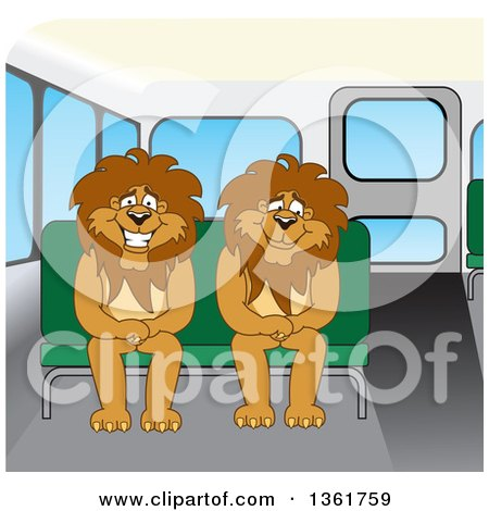 Clipart of Lion School Mascot Characters Sitting on a Bus Bench, Symbolizing Safety - Royalty Free Vector Illustration by Toons4Biz