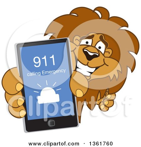 Clipart of a Lion School Mascot Character Holding up a Smart Phone and Calling an Emergency Number, Symbolizing Safety - Royalty Free Vector Illustration by Toons4Biz