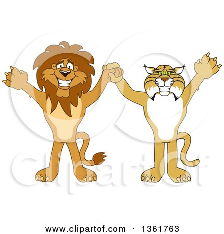 Clipart of Lion and Bobcat School Mascot Characters Holding Hands and Cheering, Symbolizing Sportsmanship - Royalty Free Vector Illustration by Toons4Biz
