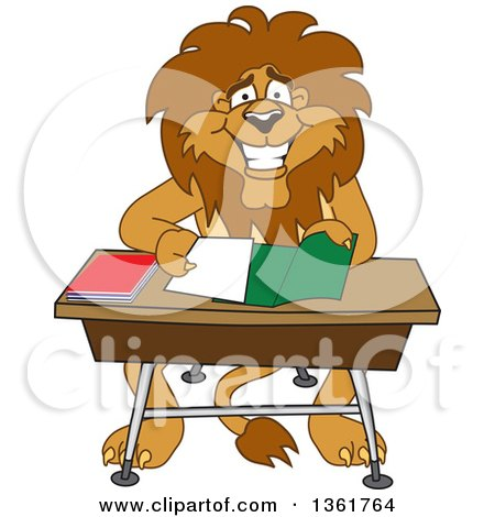 Clipart of a Lion School Mascot Character Organizing and Doing Homework, Symbolizing Organization - Royalty Free Vector Illustration by Toons4Biz