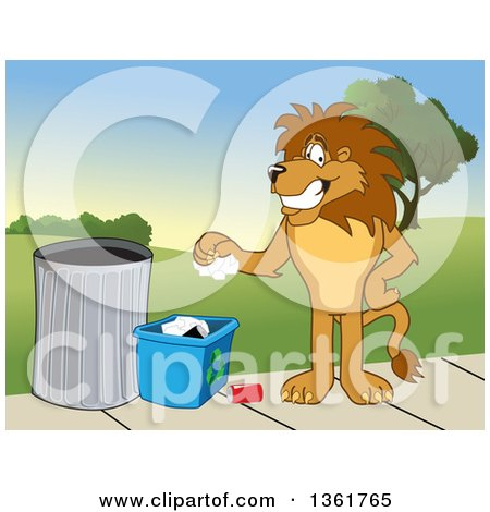 Clipart of a Lion School Mascot Character Recycling, Symbolizing Integrity - Royalty Free Vector Illustration by Toons4Biz