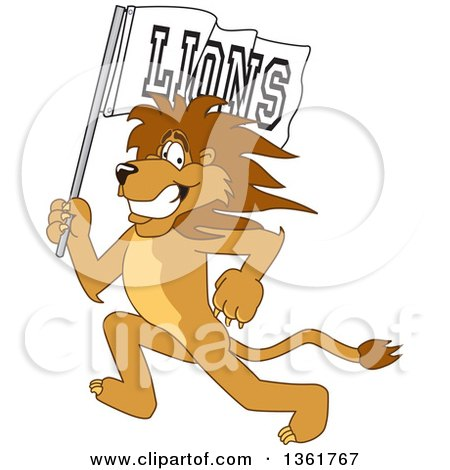 Clipart of a Lion School Mascot Character Running with a Team Flag, Symbolizing Pride - Royalty Free Vector Illustration by Toons4Biz