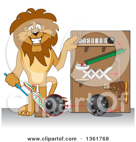 Clipart of a Lion School Mascot Character Showing a Toothpaste Dispenser Invention, Symbolizing Being Resourceful - Royalty Free Vector Illustration by Toons4Biz