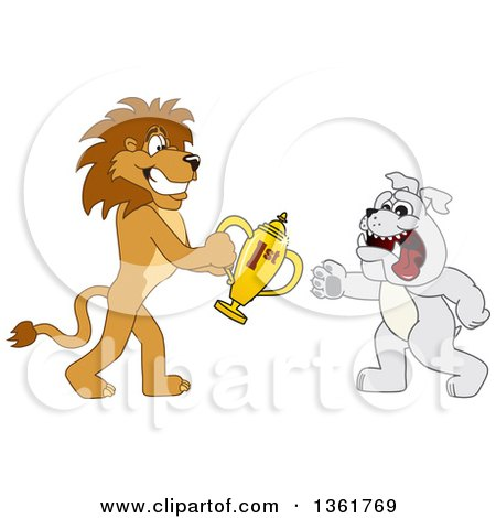 Clipart of a Lion School Mascot Character Giving a First Place Trophy to a Bulldog, Symbolizing Sportsmanship - Royalty Free Vector Illustration by Toons4Biz