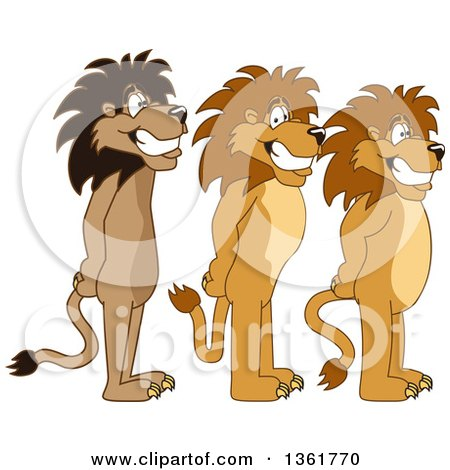 Clipart of Lion School Mascot Characters Standing in Line, Symbolizing Respect - Royalty Free Vector Illustration by Toons4Biz