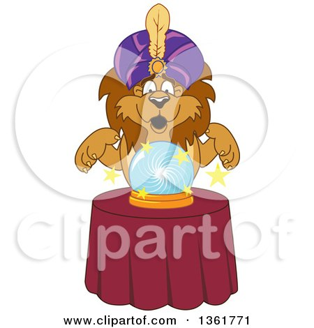 Lion School Mascot Character Fortune Teller Looking into a Crystal Ball, Symbolizing Being Proactive Posters, Art Prints