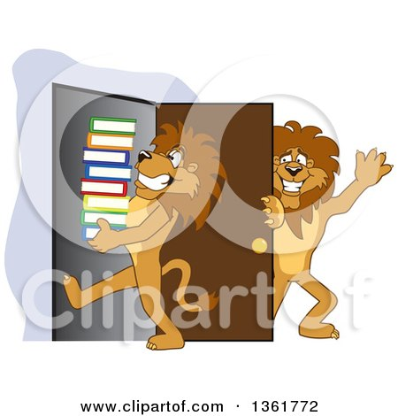 Clipart of a Lion School Mascot Character Holding a Door Open for a Friend Carrying a Stack of Books, Symbolizing Compassion - Royalty Free Vector Illustration by Toons4Biz