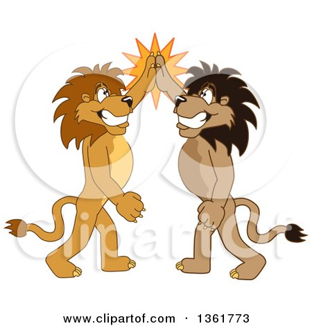 Clipart of Lion School Mascot Characters High Fiving, Symbolizing Pride - Royalty Free Vector Illustration by Toons4Biz
