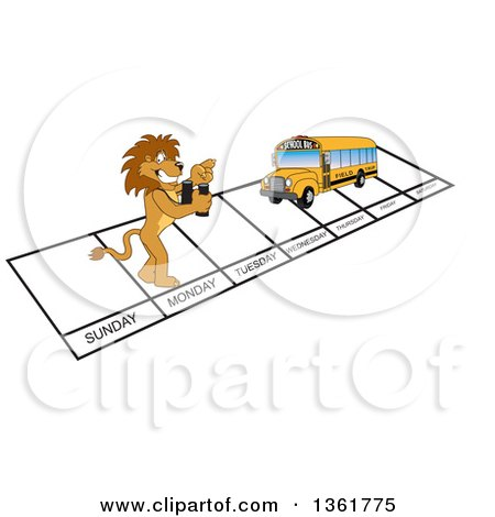 Clipart of a Lion School Mascot Character and Bus over Week Days, Symbolizing Being Proactive - Royalty Free Vector Illustration by Toons4Biz