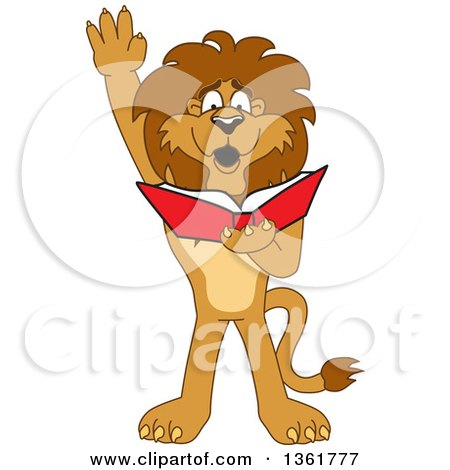 Clipart of a Lion School Mascot Character Raising His Hand and Reading a Book, Symbolizing Determination - Royalty Free Vector Illustration by Toons4Biz