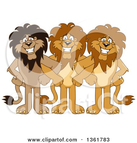 Clipart of Lion School Mascot Characters Standing with Linked Arms, Symbolizing Loyalty - Royalty Free Vector Illustration by Toons4Biz