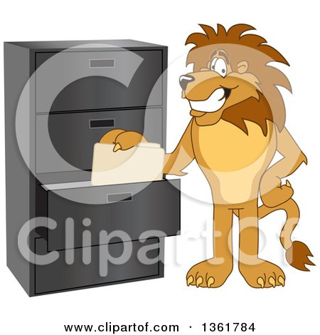 Clipart of a Lion School Mascot Character Filing Folders, Symbolizing Organization - Royalty Free Vector Illustration by Toons4Biz