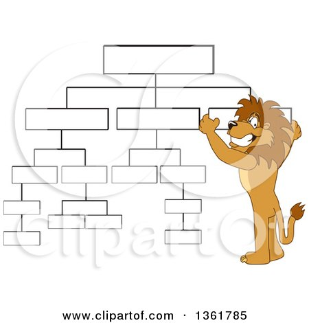 Clipart of a Lion School Mascot Character Setting up a Chart, Symbolizing Organization - Royalty Free Vector Illustration by Toons4Biz