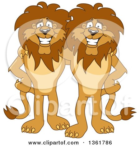 Clipart of Lion School Mascot Characters Standing and Embracing, Symbolizing Loyalty - Royalty Free Vector Illustration by Toons4Biz