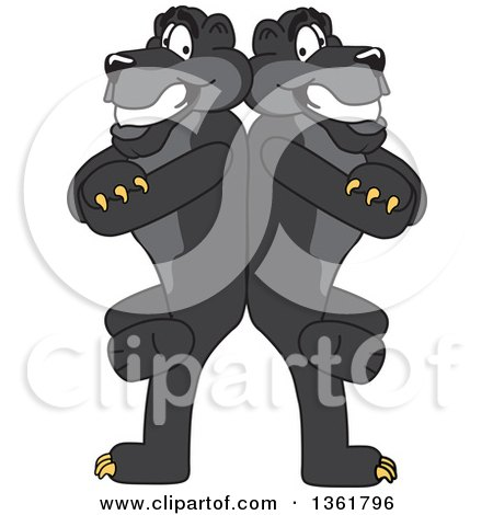 Clipart of Black Panther School Mascot Characters Standing Back to Back and Leaning on Each Other, Symbolizing Loyalty - Royalty Free Vector Illustration by Toons4Biz