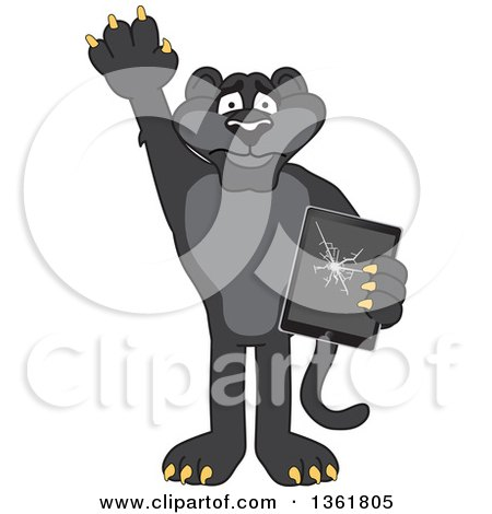 Clipart of a Black Panther School Mascot Character Confessing to Breaking a Tablet, Symbolizing Integrity - Royalty Free Vector Illustration by Toons4Biz