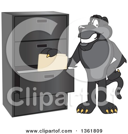 Clipart of a Black Panther School Mascot Character Filing Folders, Symbolizing Organization - Royalty Free Vector Illustration by Toons4Biz