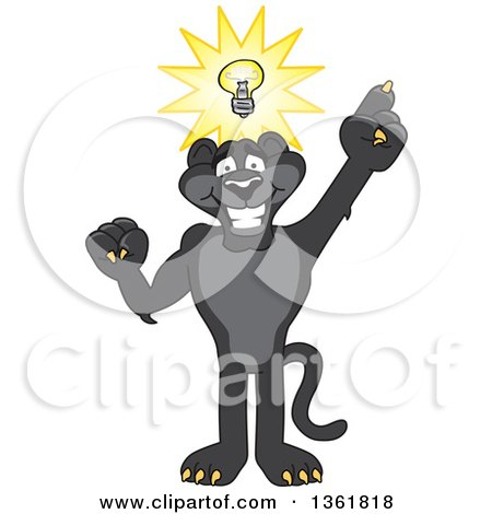 Black Panther School Mascot Character with an Idea, Symbolizing Being Resourceful Posters, Art Prints