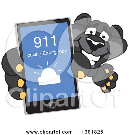 Clipart of a Black Panther School Mascot Character Holding up a Smart Phone and Calling an Emergency Number, Symbolizing Safety - Royalty Free Vector Illustration by Toons4Biz