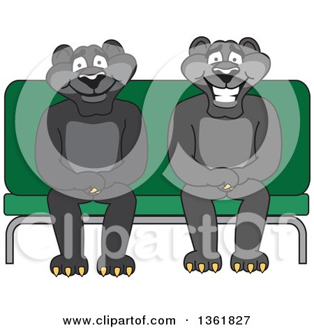 Clipart of Black Panther School Mascot Characters Sitting on a Bench, Symbolizing Safety - Royalty Free Vector Illustration by Toons4Biz