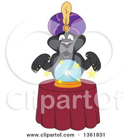 Black Panther School Mascot Character Fortune Teller Looking into a Crystal Ball, Symbolizing Being Proactive Posters, Art Prints