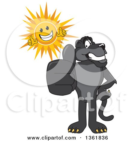 Clipart of a Black Panther School Mascot Character and Sun Holding Thumbs Up, Symbolizing Excellence - Royalty Free Vector Illustration by Toons4Biz