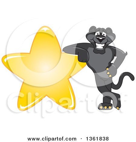 Clipart of a Black Panther School Mascot Character Leaning on a Star, Symbolizing Excellence - Royalty Free Vector Illustration by Toons4Biz
