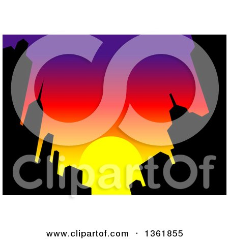 Clipart Of A Silhouetted City Skyline Against A Sunset Sky Royalty Free Vector Illustration