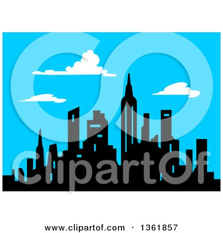 Clipart of a Silhouetted Black City Skyline Against a Blue Sky with Clouds - Royalty Free Vector Illustration by Clip Art Mascots