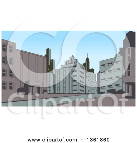Clipart of a Retro Toned City Street Scene - Royalty Free Vector Illustration by Clip Art Mascots