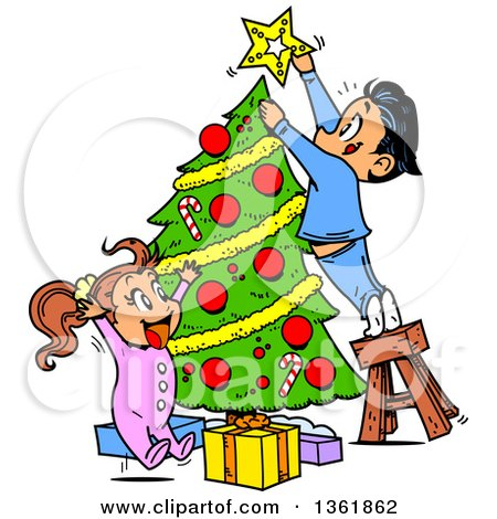 Clipart of Cartoon Children Trimming a Christmas Tree Together - Royalty Free Vector Illustration by Clip Art Mascots