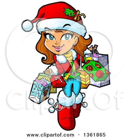 Clipart of a Cartoon Happy Brunette Caucasian Girl Carrying Christmas Shopping Bags - Royalty Free Vector Illustration by Clip Art Mascots