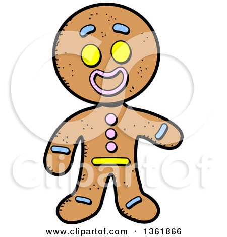 Clipart of a Cartoon Gingerbread Cookie Man Presenting - Royalty Free Vector Illustration by Clip Art Mascots