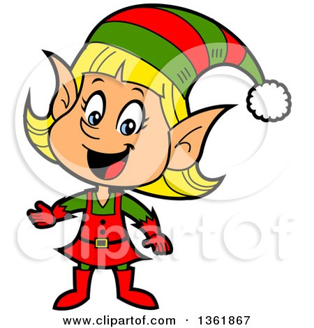 Clipart of a Cartoon Happy Presenting Female Christmas Elf - Royalty Free Vector Illustration by Clip Art Mascots