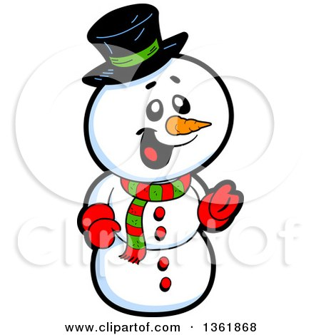 Clipart of a Cartoon Jolly Christmas Snowman - Royalty Free Vector Illustration by Clip Art Mascots