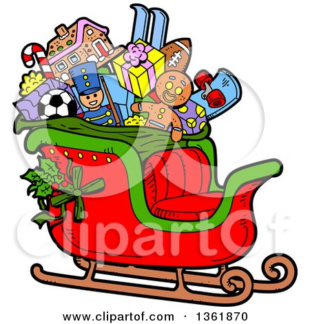 Clipart of a Cartoon Santas Christmas Sleigh with Holly, Toys and Gifts - Royalty Free Vector Illustration by Clip Art Mascots
