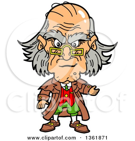 Clipart of a Cartoon Caricature of Ebenezer Scrooge Being Angry at Christmas - Royalty Free Vector Illustration by Clip Art Mascots
