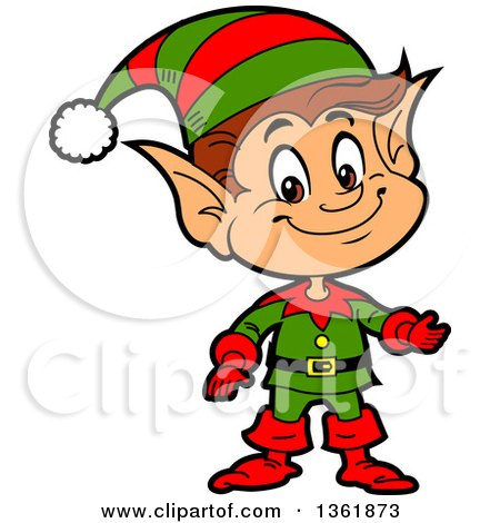 Clipart of a Cartoon Presenting Happy Male Chistmas Elf - Royalty Free Vector Illustration by Clip Art Mascots