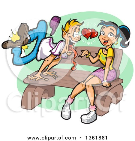Clipart of a Cartoon Blond White Guy Going Crazy over a Pretty Young Woman Sitting on a Bench - Royalty Free Vector Illustration by Clip Art Mascots
