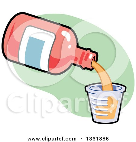 Clipart of a Cartoon Bottle of Cough Syrup Pouring into a Measuring Cup - Royalty Free Vector Illustration by Clip Art Mascots