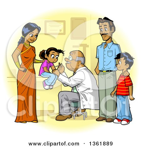 Clipart of a Happy Indian Family Seeing Their Doctor for Vaccines - Royalty Free Vector Illustration by Clip Art Mascots