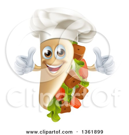 Clipart of a Cartoon Chef Gourmet Souvlaki Kebab Sandwich Mascot Giving Two Thumbs up - Royalty Free Vector Illustration by AtStockIllustration