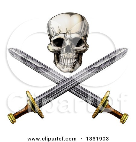Engraved Pirate Skull Above Crossed Swords Posters, Art Prints
