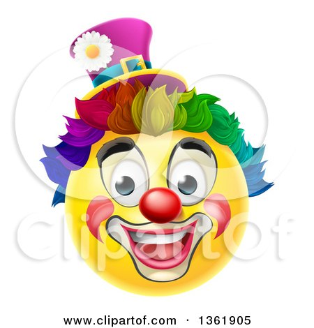 Clipart of a 3d Yellow Clown Smiley Emoji Emoticon Face with a Rainbow Wig - Royalty Free Vector Illustration by AtStockIllustration